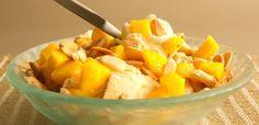 Crumble de mango y sorbete de guanábana