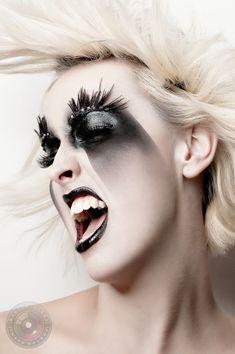 Extreme black and white makeup black lips black eyes- eyelashes on eyebrows Eye Makeup, Airbrush Makeup, Makeup Art, Beauty Makeup, Hair Makeup, Ghost Makeup, Real Techniques Makeup Brushes, Technique Makeup Brushes, Black And White Makeup