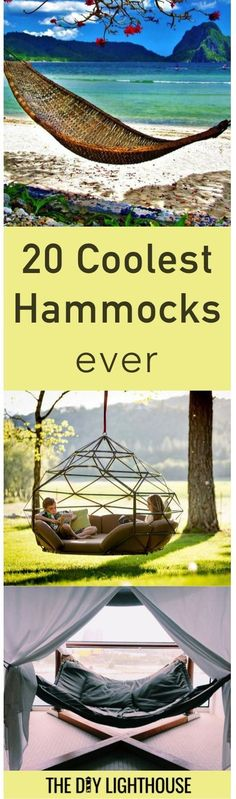 Coolest Hammocks ever | Ideas for hammock in the backyard | DIY hammock tutorial and indoor and backyard hammocks | camping hammock, chair swing hammock, bed hammock, bathtub hammock, and more | How to make your own hammock too