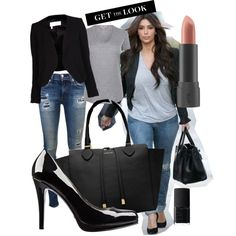 Kim Kardashian Style by cheyenne-d on Polyvore featuring moda, Helmut Lang, 10 Crosby Derek Lam, JET by John Eshaya, rag & bone, Nine West, Michael Kors, Bite and NARS Cosmetics