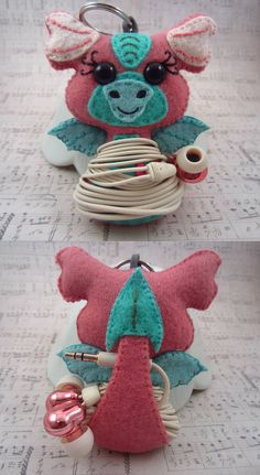 Ear Bud Holder Dragon Ear Bud Kawaii Dragon Felt by HeartFeltPlush $20