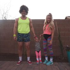 """""""80s workout instructors! Logan is ready to trick or treat!  #halloween"""""""