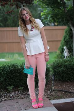 peachy keen | white peplum top + peach colored jeans + neon pink j crew heels + colorful accessories