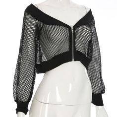 Sexy Gothic Mesh Off Shoulder Crop Top | Rock n' Doll