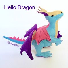 Handmade Felt Dragon  Felt Plushie  Felt Toy  Felt by EverSewNice