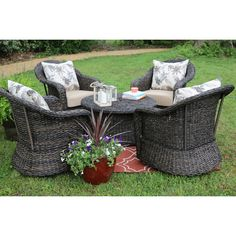Found it at Wayfair - Waddells 5 Piece Swivel Seating Group with Cushion