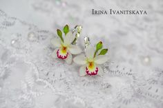 Earrings Orchid. Polymer clay.