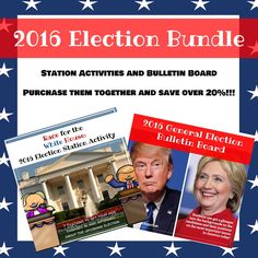 2016 Election Bundle: Stations, Bulletin Boards, and More Political Party, Upper Elementary, 2016 Election, Bulletin Boards, Teacher Pay Teachers, Social Studies, Politics, Student, Activities
