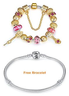 Bamoer Key of Heart Irish Style Red Flower Murano Glass Bead Gold Plated Charm Bracelet Jewelry for Women Teen and Girls Available Size 18cm20cm21cm -- Visit the image link more details.
