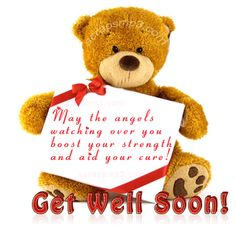 Teddy Bear Hold Get Well Soon Message Graphic