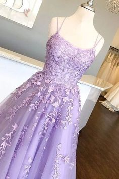 Prom Gown in Lilac ? : Lilac Prom Dresses with Appliques, Long Princess Prom Dress, Prom Dance Dress, Formal Prom Dress Long Light Purple Prom Dress, Lilac Prom Dresses, Princess Prom Dresses, Straps Prom Dresses, Pretty Prom Dresses, Formal Evening Dresses, Ball Dresses, Beautiful Dresses, Ball Gowns