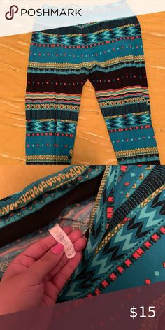 Turquoise and Multi Colored Tribal Print with Feathers Leggings S//M