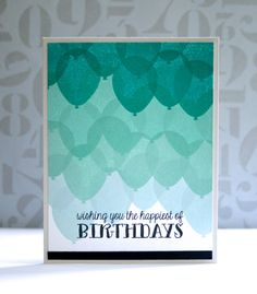 handmade birthday card: Sooner rather than Later: Birthday Balloons ... hand stamped overlapping balloons in blue/turquoise range fill the card in ombré pattern ... delightful ...