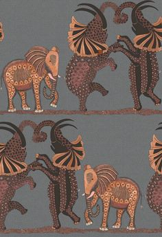 Safari Dance Wallpaper A wonderfully fun wallpaper featuring a trio of elephants dancing horizontally across the African Plains on a softly speckled backdrop. Shown in red and charcoal.