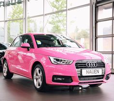 So hot or so not - what do you think? The Audi A1 in telemagenta pink at the Autohaus Nauen. #AudiA1