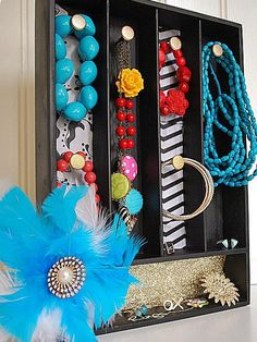 Use a silverware tray to hang jewelry. http://www.hgtv.com/specialty-rooms/repurposing-household-items-for-closet-organization/pictures/page-3.html?soc=pinterest