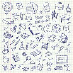 Freehand drawing school items on a sheet of exercise book. Back to School. Vecto… Freehand drawing school items on a sheet of exercise book. Back to School. Set - Back To School Notebook Doodles, Bujo Doodles, Storage Unit Auctions, Banner Doodle, Back To School Clipart, Drawing School, Exercise Book, Clip Art, School Items
