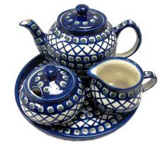 4 piece Polish Bolesławiec ceramic tea set. #shopgoodwill #goodwill #auction