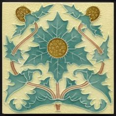 Rare Art Nouveau Majolica Thistle Tile Gibbons Hinton c.1905. An excellent and very rarely found art nouveau tile from this top quality manufacturer. It is very rare to see thistles on tiles, rarer in art nouveau, and the designer has made a superb job of representing the subject in the style. Spiky shapes don't naturally lend themselves to the art nouveau style yet here the designer has successfully combined the nature of thistle with the flow and movement of art nouveau.