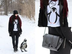 Penguin shirt. Scarf. Jacket. Boots.