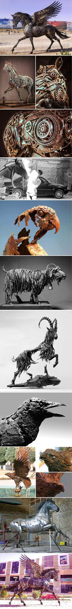 Hasan Novrozi, a talented sculptor trained in Iran, has created a wonderful collection of steampunk animals sculptures that are full of life and emotion – despite being painstakingly assembled from thousands of metal tools, automotive components, and other pieces of scrap metal.