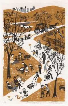 Central Park Summer. By Clare Romano. Color woodcut, 1957.