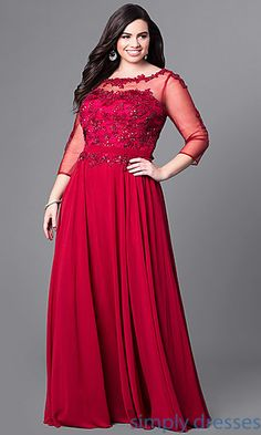 9bd7d32573d Long Plus-Size Prom Dress with Beaded Lace and Sleeves