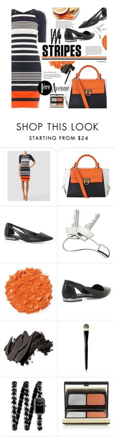 """""""Stripes - Joseph Ribkoff Spring Collection"""" by beebeely-look ❤ liked on Polyvore featuring Joseph Ribkoff, Salvatore Ferragamo, BCBGMAXAZRIA, Georg Jensen, Illamasqua, Bobbi Brown Cosmetics, Yves Saint Laurent, Chanel, Kevyn Aucoin and country"""