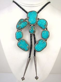 Turquoise Pendant UNISEX Native American Style Vintage Earthy Tribal 60s Hippie Style On New Leather Cord