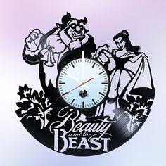 Beauty And Beast Art Vinyl Record Clock Beauty And The Beast Modern Wall Clock Beauty Beast Print Pr Vinyl Record Clock, Record Wall, Vintage Vinyl Records, Records Diy, Beauty And The Beast Theme, Beauty Beast, Wall Clock Gift, How To Make Wall Clock, Vinyl Gifts
