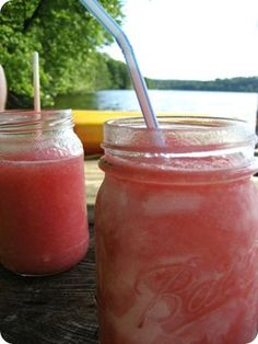Blend 1 can frozen limeade, 1/2 can sprite, 2 cups frozen strawberries, and the pulp of two limes