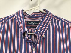Ralph Lauren Polo Mens Long Sleeve Button Down Shirt Blue Red Strip XL Classic #RalphLauren #ButtonFront