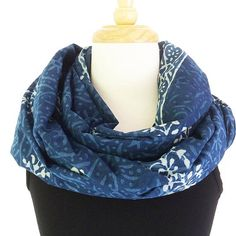 Indigo Cotton Voile Scarf or Sarong - Block printed cotton voile beach sarong.