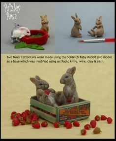 Two customized dollhouse miniature scale Cottontail bunnies using a Schleich pvc commercial model, polymer clay & alpaca yarn...