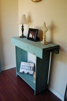 Console Table in Ocean Blue Cedar Wood Wall by TRUECONNECTION, $299.00