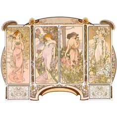 Original Decorative Panels by Mucha | From a unique collection of antique and modern posters at https://www.1stdibs.com/furniture/wall-decorations/posters/