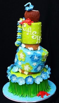 3 tier TT w/ wedges.  Covered in fondant with fondant and fumpaste accents.  Coconut drink topper is rtk.