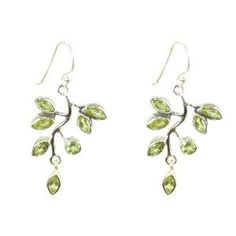 Sterling, peridot vine leaf dangle earrings ($61)