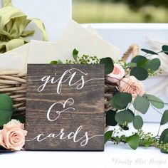 Gifts and Cards Sign, Wedding Gift Table Sign, Gifts Sign, Wooden Wedding Signs  -measures approximately 6 x 7 -dark walnut wood with white Gift Table Wedding, Diy Wedding Gifts, Wedding Cards, Wedding Invitations, Diy Gifts, Cricut Wedding, Wooden Wedding Signs, Wedding Signage, Rustic Wedding