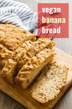 The best banana bread and it's vegan! Perfectly moist & topped w/a brown sugar crust, this delicious banana bread is super easy to make, customizable w/your favorite stir-ins Vegan Banana Bread, Easy Banana Bread, Vegan Bread, Banana Bread Recipes, Vegan Dessert Recipes, Vegan Sweets, Vegan Recipes Easy, Whole Food Recipes, Cooking Recipes