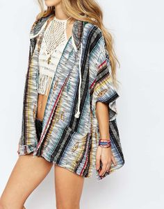 15bf45729e1 Image 3 of Billabong Festival Poncho In American Blanket Print With Hood  Boho Fashion