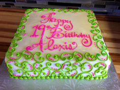 pink and green girly swirl cake