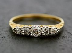 Antique Diamond Ring  Victorian 18ct Gold Five by AlistirWoodTait, £695.00