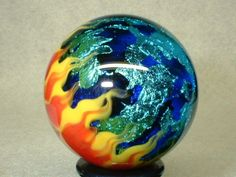 WILLIS MARBLES - FLAMING BLUE ICE PLANET - HANDMADE MARBLE #WILLISGLASSART #HANDMADE