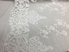 White Flowers Embroider On A 2 Way Stretch Mesh Lace. Wedding/bridal/Prom Fabric #NewCreationsFabricFoam