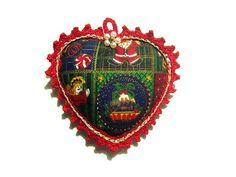 Christmas fabric heart with Gold and Red lace Christmas heart