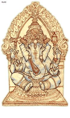 Ganesh is depicted with an elephant's head on a human body and in the Hindu… Shri Ganesh, Ganesha Art, Lord Ganesha, Lord Shiva, Ganesh Yantra, Happy Ganesh Chaturthi, Ganesh Chaturthi Images, Indian Gods, Indian Art