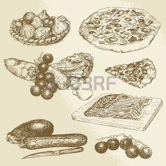 comida italiana, dibujado a mano conjunto - pizza, verduras photo