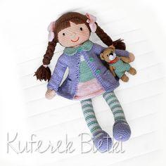 Pimpinella Gehäkelte Puppe (41 cm) und Teddybär (11 cm)