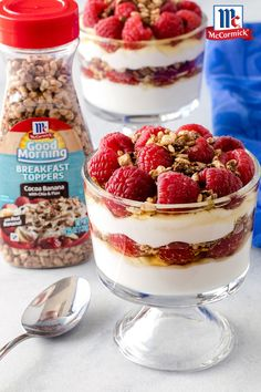 With Greek yogurt, honey, raspberries and Cocoa Banana Breakfast Toppers, these elegant parfaits are layered like a trifle and fit for a princess. Good Morning Breakfast, Banana Breakfast, Breakfast Ideas, Raspberry Chocolate, Party Recipes, Trifle, Picky Eaters, Raspberries, Parfait